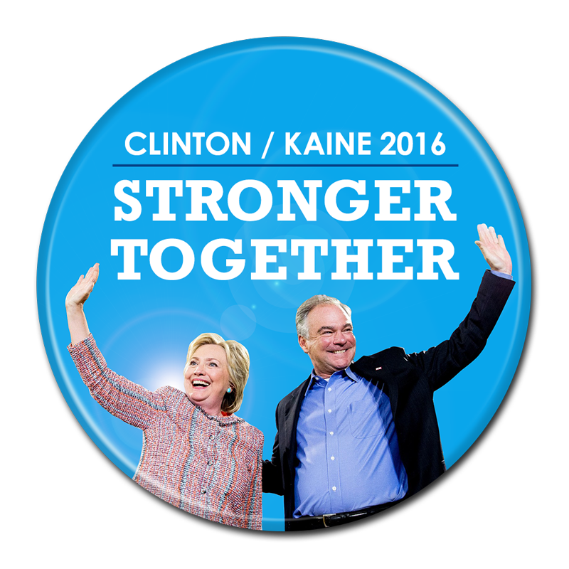 THREE DIFFERENT OVALS CLINTON PINS  2016 ELECTION CAMPAIGN KAINE N.Y.C