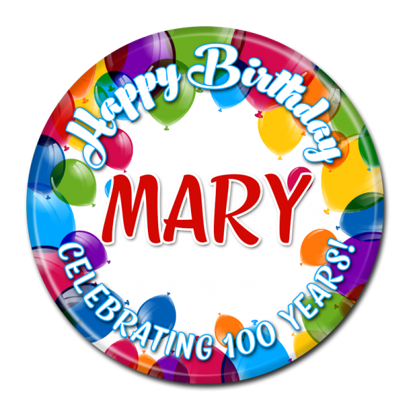 Birthday Buttons - Happy Birthday Balloons