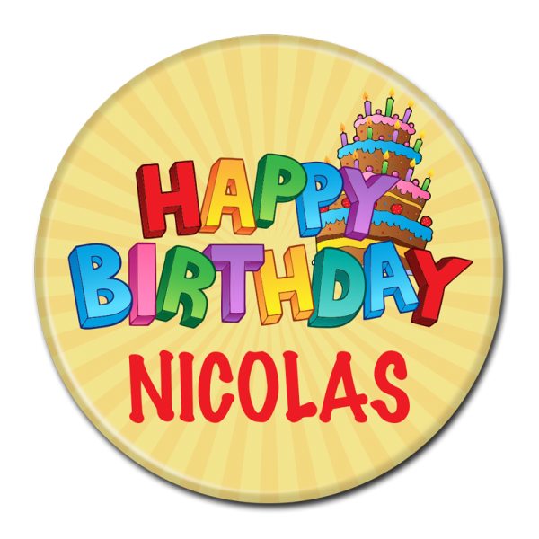 Birthday Buttons - Happy Birthday Nicholas