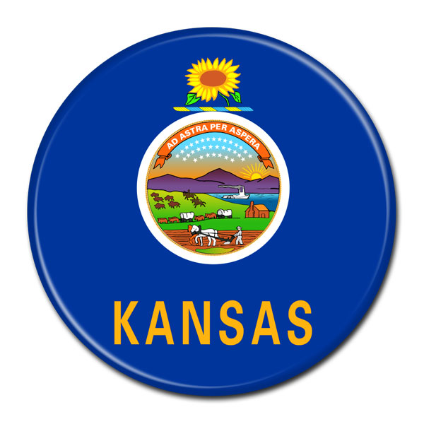 FLAG BUTTON - Kansas