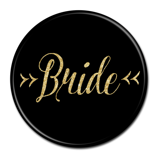 Bride Buttons - Black & Gold