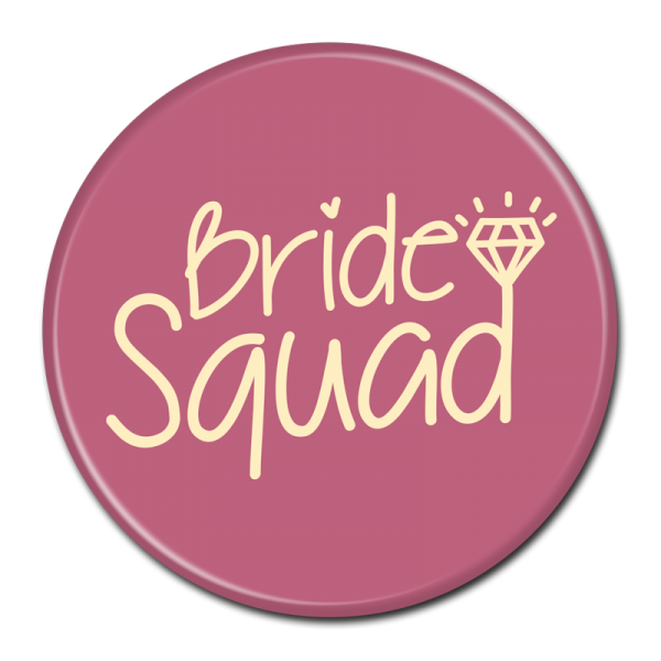 Bachelorette Party Buttons - Bride Squad Maroon