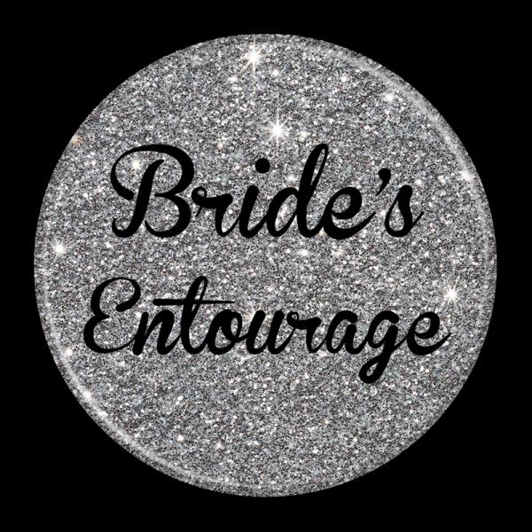 Bachelorette Party Buttons - Bride Entourage Silver Sparkle