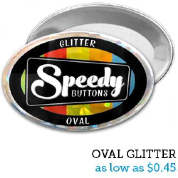 OVAL Glitter Buttons