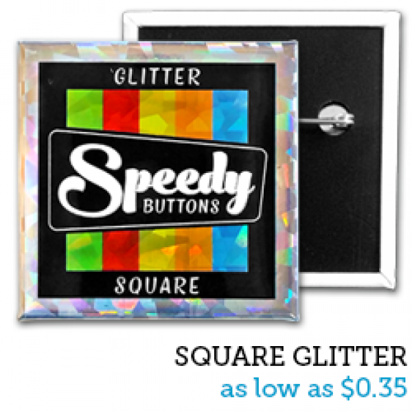 SQUARE Glitter Buttons