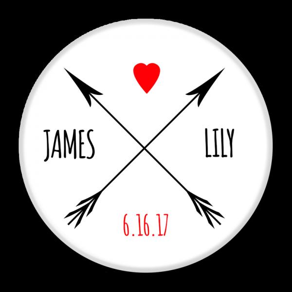 Wedding Buttons - Arrows & Heart